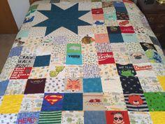 custom made memory quilt from baby clothes