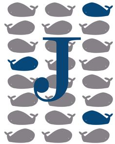Whale Poster (Land of Nod, It's a boy, Whale, Baby, Shower, Print, inspired, nautical, DIY, sailor, nursery, baby room, custom, navy, gray) on Etsy, $17.95