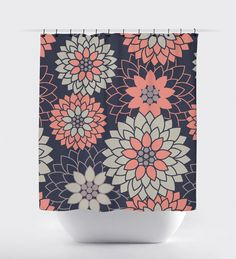 Coral And Navy Blue Flower Shower Curtain Geometric Modern