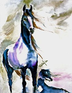 ARABIAN HORSE and SALUKI blue Watercolor horse and dog Print Double Matted to 16x20 Signed by Carol Ratafia