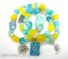 Sun and Moon Beaded Bracelet Set by RandRsWristCandy on Etsy, $9.00