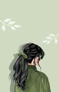 Cartoon Girl Drawing, Girl Cartoon, Cover Wattpad, Arte Fashion, Anime Scenery Wallpaper, Green Wallpaper, Digital Art Girl, Cartoon Art Styles, Cute Cartoon Wallpapers