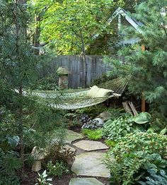 20 Shade Garden Design Ideas That Prove You Can Grow Colorful Plants Anywhere backyard hammock Backyard Hammock, Backyard Landscaping, Landscaping Ideas, Wooded Backyard Landscape, Hammock Ideas, No Grass Backyard, Shady Backyard Ideas, Backyard Trees, Backyard Shade