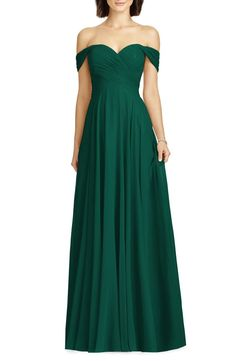 Lux Ruched Off the Shoulder Chiffon Gown Green Bridesmaid Dresses, Prom Dresses, Formal Dresses, Bridesmaids, Formal Prom, Burgundy Bridesmaid, Full Circle Skirts, Frack, Chiffon Gown
