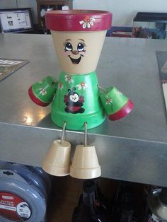 Flower pot people green with lady bug by crazycraftingfriends, $40.00