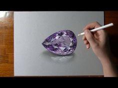 How I draw an amethyst gemstone - YouTube