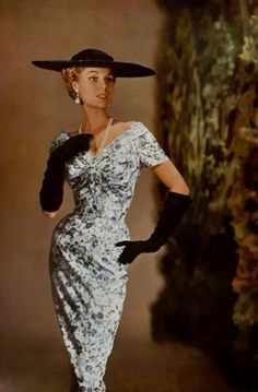 Model wearing a dress Jacques Fath, 1955.  I want to wear this WHOLE outfit NOW, only with short black gloves.