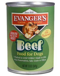 """One of Evanger's Classic Dinners for dogs, """"Beef"""" is a single source protein (100% Beef) MADE IN THE USA with No Corn, No Wheat, and No Soy! It is an excellent meal enhancer. Pair it with Evanger's Meat Lover's Medley Dry Food or Super Premium All Fresh Vegetarian Dinner."""