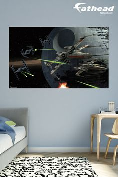 Star Wars Bedroom | Fathead Customer Testimonial: Great product, easy installation and more important delivery was very quick. Thanks! SHOP removable vinyl wall decals at  http://www.fathead.com/star-wars/star-wars-movies/battle-of-endor-mural/ | DIY Star Wars Bedroom Ideas for Boys + Kids | Home Decor | Teen | Man Cave | Baby + Toddler Room | Fathead Wall Decals | Star Wars May the 4th Be With You Birthday Party Ideas For Kids