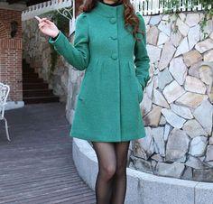 Discount-Long Coat- Women Coat-  Slim Coat-Winter Coat-Long Sleeve-Green