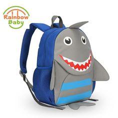 52de86b1e045 Rainbow Baby Cute Shark Bagpack Urltra-Light Kids   Babys Bags Wearable  School Bags Non-Polluting Boys Bagpack Lovely Backpack