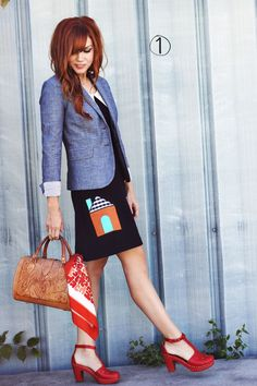 Won't You Be My Neighborhood Dress (love this look with the chambray blazer!!)
