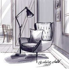 Beach Chairs And Umbrellas Interior Design Renderings, Drawing Interior, Interior Sketch, Decor Interior Design, Interior Architecture, Furniture Design, Interior Decorating, Classical Architecture, Art Worksheets