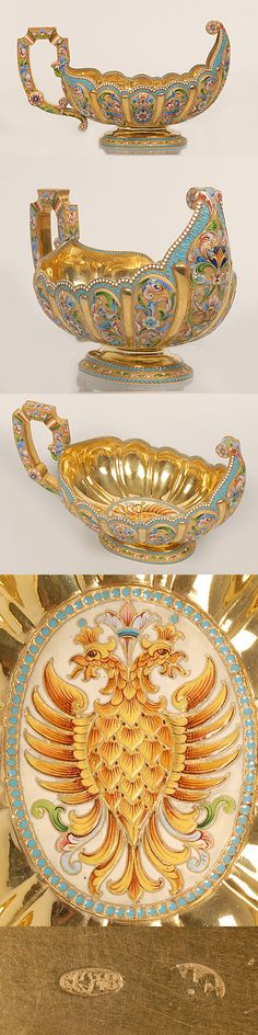 A large Russian silver gilt and shaded cloisonne enamel kovsh, Maria Semenova, Moscow, circa 1896-1908. Of unusual boat-shape form with scalloped rim and raised lobed body, the kovsh painted with polychrome scrolling flower-head motifs against a gilded , stippled ground, the rim of turquoise filigree enamel bordered by white enamel beads, a center oval medallion with the Imperial eagle surrounded by a band of turquoise enamel beads.