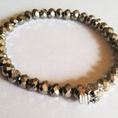 Pave Skull Silver Faceted Glass Bracelet  #pave #silver #skull #accessories #armswag #bracelet #beaded #jewelry #beaded #czech