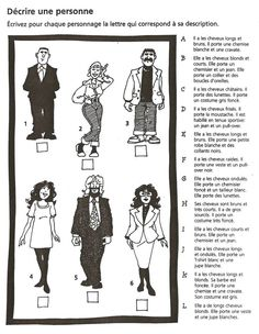Trouvez la bonne description- for physical traits and clothing French Language Lessons, French Language Learning, French Lessons, French Teaching Resources, Teaching French, How To Speak French, Learn French, French Adjectives, French Worksheets