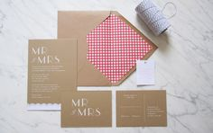 gingham wedding invite by brown paper