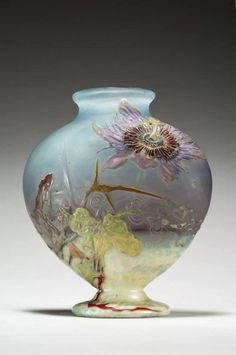 EMILE GALLE, BLOWN, INTERNAL INCLUSIONS, MARQUETRY INLAYS AND ENGRAVED GLASS VASE.