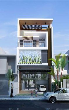 The Modern house was most typically a post-and-beam structure with a flat or broad low-pitched gable or shed roof. Bungalow House Design, House Front Design, Small House Design, Modern House Design, Facade Design, Exterior Design, Building Design, Building A House, Casas Containers