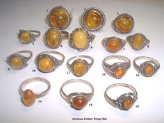 Antique amber rings-I had one with a bumble bee in it, lost it on Washington Street--very sad.