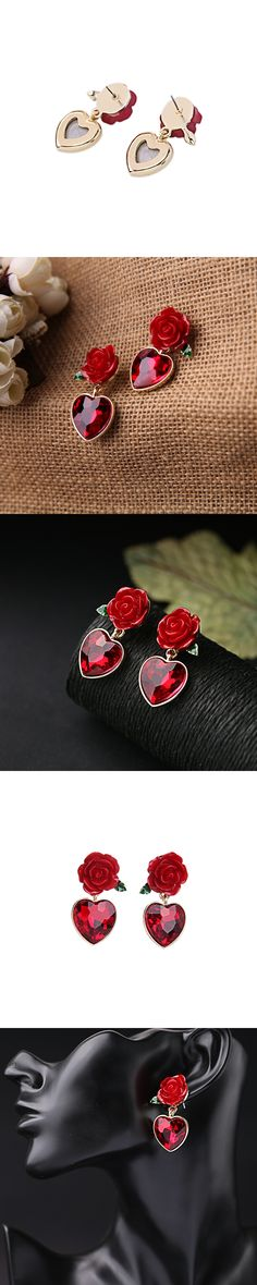 Newest Arrival Luxury Appearance Colorful High-end Women's Rose Flower Shape And Heart Pendant Stud Earrings