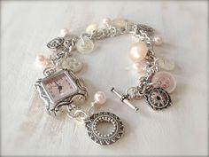 Vintage Style Watch Bracelet - Vintage Buttons and Pearls Watch Bracelet - Charm Bracelet - Cottage - Shabby Chic - Gifts via Etsy