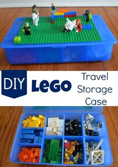 We're always thinking about Lego storage ideas. I've been thinking we need a real Lego travel case – an upgrade from the Ziploc bags we typically bring along! Projects For Kids, Diy For Kids, Crafts For Kids, Diy Projects, Diy Crafts, Legos, Lego Lego, Lego Batman, Diy Organisation