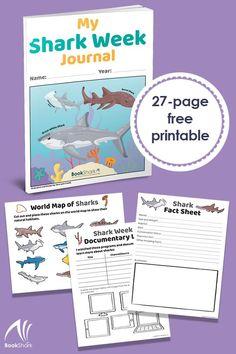 Free Printable Shark Week Journal for Kids - Money Saving Mom® : Money Saving Mom® Shark Activities, Learning Activities, Kids Learning, Feelings Activities, Teaching Ideas, Free Printables, Printable Templates, Shape Templates, Shark Books