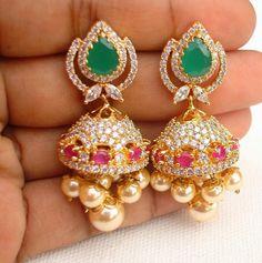 Uncut ruby emerald lovely jhumka | latest online jewellery | Elegant Fashion…