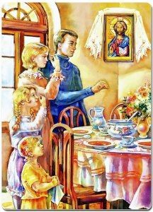 Prayer before a meal. Catholic Marriage, Orthodox Catholic, Catholic Art, Catholic Saints, Religious Art, Orthodox Easter, Russian Orthodox, Altar, Byzantine Icons