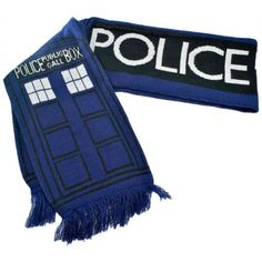 "Keep yourself warm while traveling through the time and space continuum with this TARDIS scarf. At a whopping 74"" long, this soft and cleverly designed scarf of a public call box will satisfy any fan wrapped up in the world of Doctor Who. 74"" long and 8"" wide. Acrylic."