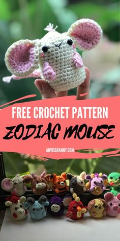 Crochet the cute Zodiac mouse from Zodiac animal amigurumi collection with the step by step crochet pattern and video tutorial for beginners. It is an fun and quick crochet project that you can finish only in 2 hours. Perfect birthday gift for people born in January or Rat years, along with a free Mouse Birhtday printable card. #anvisgranny #crochetrat #amigurumi #chinesezodiac