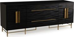 The doors and drawers of this credenza are faced with kazan black, a holistic laminate, and feature brass-plated stainless steel handles. The case is finished in high-gloss black and stands on a brass-finished stainless steel base. Set Up An Appointment, Credenza, Moonlight, High Gloss, Brass, Stainless Steel, Flooring, Drawers, Cabinet