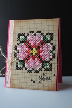 handmade card from Virginia's View Challenge - Stitching . cross-stitch on grid paper . Celtic Cross Stitch, Mini Cross Stitch, Cross Stitch Flowers, Stitching On Paper, Cross Stitching, Cross Stitch Embroidery, Cross Stitch Bookmarks, Cross Stitch Cards, Cross Stitch Designs