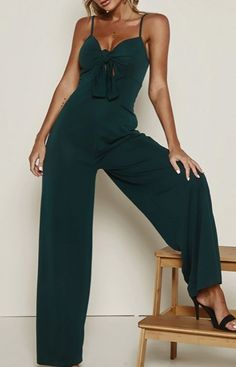 Tie front long jumpsuit is my life Beautiful Outfits, Cool Outfits, Casual Outfits, Fashion Outfits, Fashion Trends, Mature Fashion, Long Jumpsuits, Office Fashion, Dress To Impress