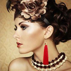 Female Red Tassel Drop Earrings Gold color  Cotton Fringes Long Ethnic Dangle Earrings For Women Fashion Jewelry Wholesale C97