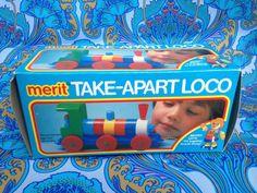Vintage 1970s 1980s Merit Take Apart Loco locomotive train toy