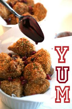 Healthy Baked Chicken Nugget with Pomegranate Sauce | recipe on