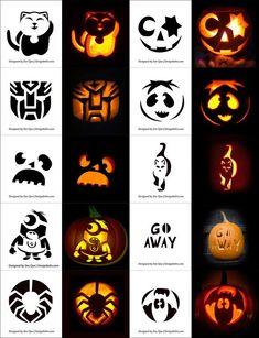 Free Printable Halloween Pumpkin Carving Stencils, Patterns, Designs, Faces & Ideas Free P Halloween Pumpkin Carving Stencils, Awesome Pumpkin Carvings, Disney Pumpkin Carving, Scary Pumpkin Carving, Easy Pumpkin Stencils, Easy Pumpkin Faces, Funny Pumpkin Faces, Pumpkin Template, Pumpkin Carving Templates