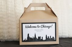 This wedding welcome box is a perfect way to welcome out of town guests Kit includes: 20 kraft or white (you choose) gable boxes with custom CHICAGO label. Box measures 8 x 4 x 5 I can customize colors and fonts too . just add in notes section. Ultimate Wedding Gifts, Wedding Gifts For Guests, Wedding Welcome Bags, Unique Wedding Gifts, Plan Your Wedding, Wedding Favors, Wedding Planning, Wedding Flower Arrangements, Wedding Flowers