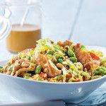 chicken & edamame stir-fry slaw with sriracha peanut vinaigrette from clean eating mag