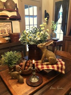 Centerpiece for Easter or Spring #PrimitiveCountryDecorating #CountryPrimitive