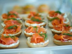 Brunch is, without a doubt, one of my favorite times of day to have a party. Fortunately, many brunch items are also a cinch to prepare, like these mini bagels with cream cheese and smoked salmon that you can assemble in a jiffy. Get the recipe.