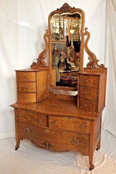 Antique Victorian 1880 039 s Tiger Quarter Sawn Solid Oak Che Val Dresser | eBay