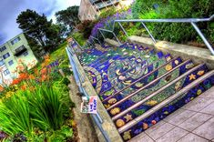 16 Avenue Tiled Steps in San Francisco - 17 Beautifully Painted Stairs From All Over The World. Is Insane! Mosaic Stairs, Tiled Staircase, Stairway Art, Stairway To Heaven, Beautiful Stairs, World's Most Beautiful, Escalier Art, Performance Artistique, Tile Steps