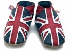 soft leather baby shoes, Union Jack, Great Britain flag design in navy / red / white  Newborn Baby Shoes from Starchild