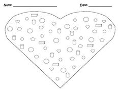 Valentine's Day Shape Hunt. Students use the color code to color each shape, find how many shapes, and graph the results. The added math page helps them add together these numbers to practice addition skills! A fun way to do math on Valentine's day!