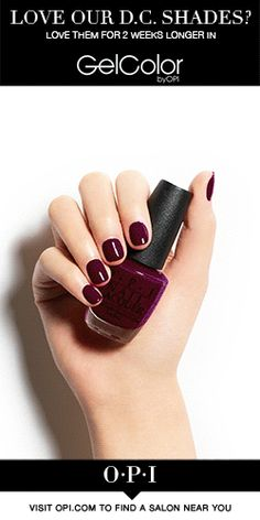 OPI's Washington DC collection is perfectly matched in both OPI GelColor and Nail Lacquer! Meet OPI's new fall collection inspired by our nation's capital, Washington DC. OPI is delighted to partner with Kerry Washington on these must-have shades for fall. Head to the salon & give your nails the presidential treatment with #OPIWashingtonDC bold colors and looks. Get your hands on them today!