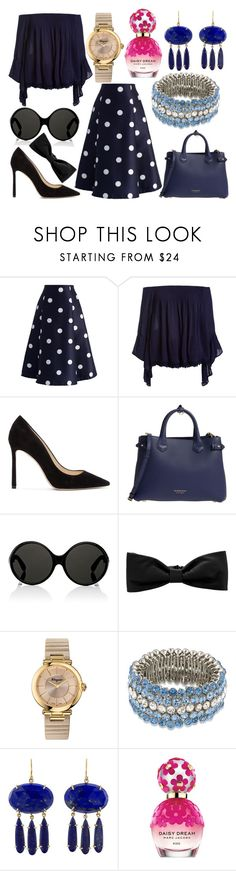 """Sin título #4305"" by onedirection-h1n1l2z1 on Polyvore featuring Chicwish, Sans Souci, Jimmy Choo, Burberry, Yves Saint Laurent, Hermès, Salvatore Ferragamo, Carolee, Irene Neuwirth y Marc Jacobs"
