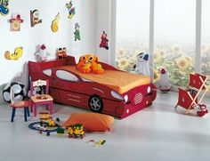 Boys' bedroom with red sports car bed Red Sports Car, Car Bed, Toddler Bed, Children, Furniture, Home Decor, Bedrooms, Heart, Boys